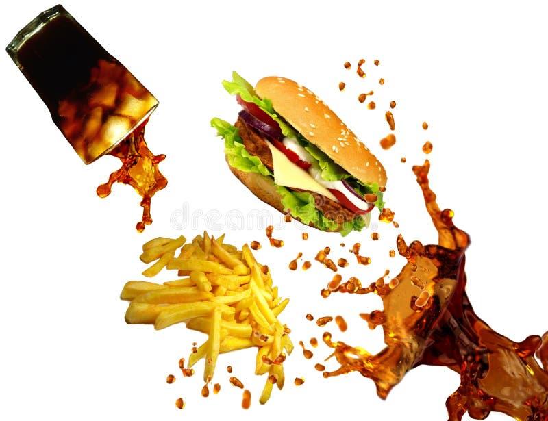 Cheeseburger, kola en frieten stock afbeelding