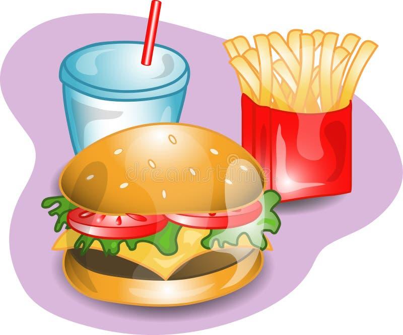 cheeseburger kompletny lunch royalty ilustracja
