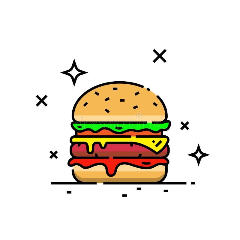 Cheeseburger line icon vector illustration