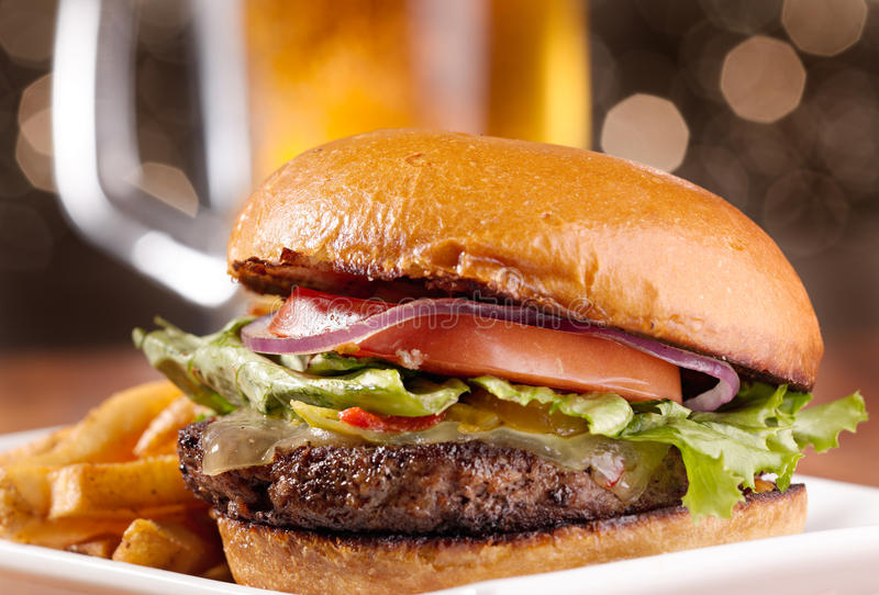 Cheeseburger meal stock images