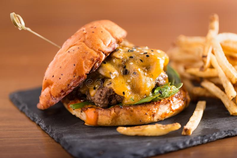 Cheeseburger with melting cheese with French Fries royalty free stock photos