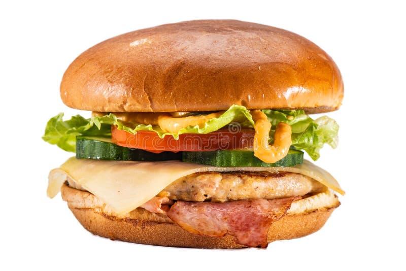 Cheeseburger met bacon stock afbeelding