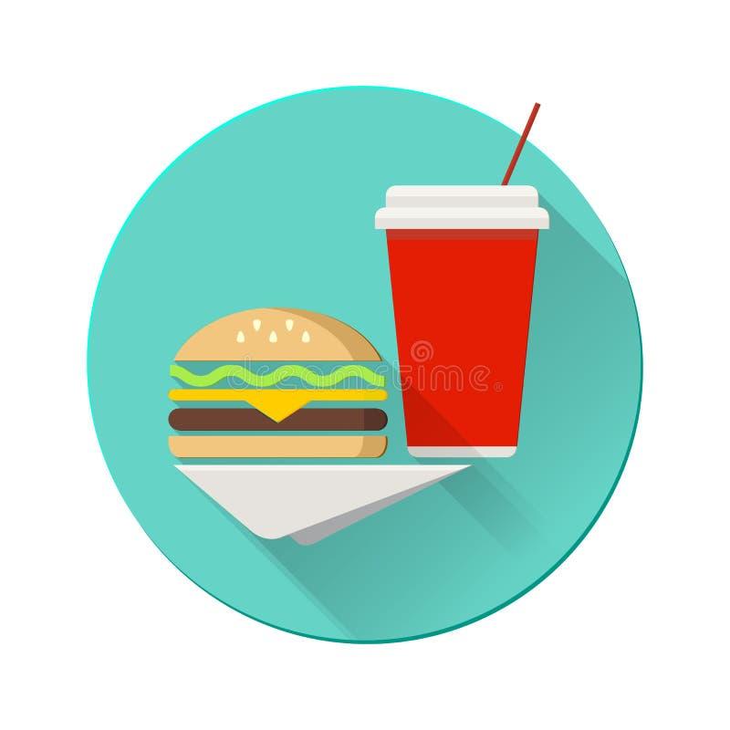 Cheeseburger met plastic kop op een servet vlak stock illustratie