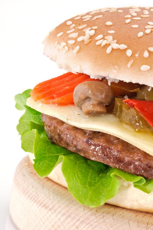 Download Cheeseburger With Mushrooms And Peppers Stock Photo - Image: 22676820