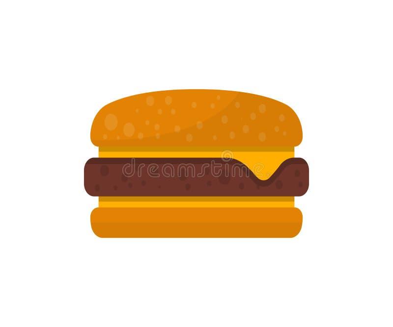 Cheeseburger odizolowywająca ikona w mieszkanie stylu royalty ilustracja
