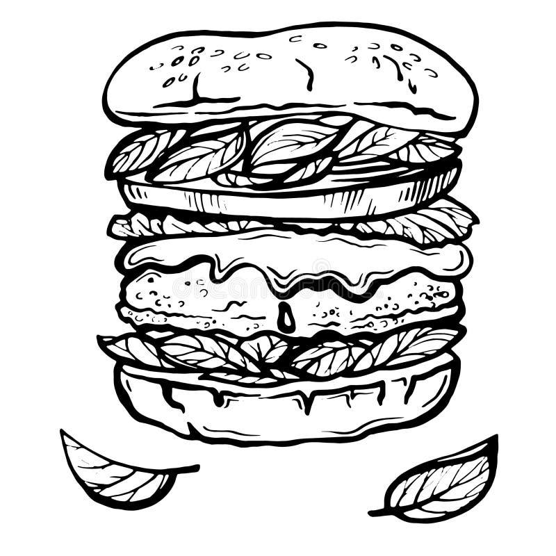 Cheeseburger ou Hamburger tirado mão do esboço ilustração do vetor