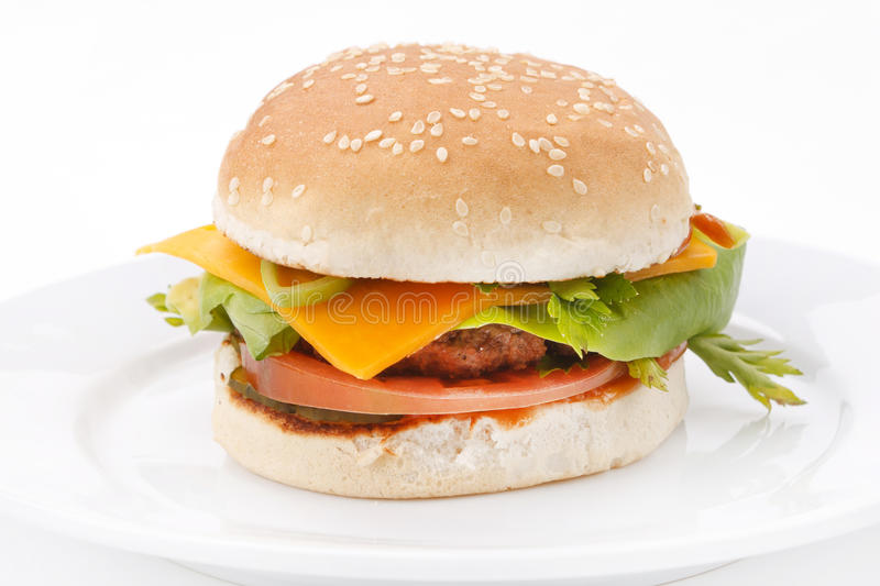 Download Cheeseburger On The Plate Royalty Free Stock Images - Image: 24379839