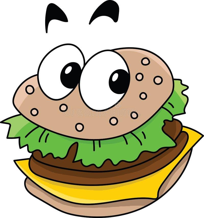 Cheeseburger pronto da mangiare delizioso del fumetto che esamina vettore della macchina fotografica illustrazione di stock
