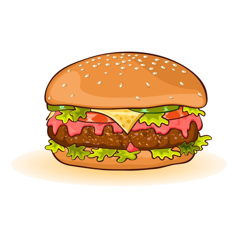 Cheeseburger with slices of beef patty, cheese, ketchup, tomato, cucumber or pickles, lettuce. royalty free illustration
