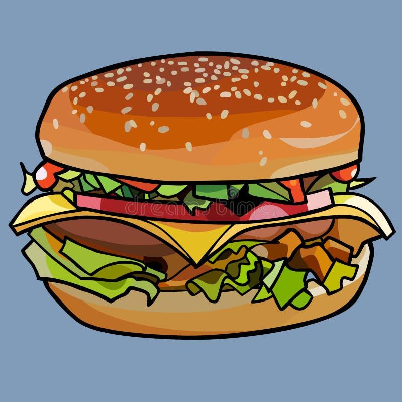 Cheeseburger tirado desenhos animados, sanduíche com queijo e carne e vegetais ilustração do vetor