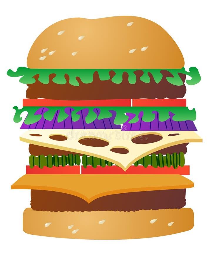 Cheeseburger triple illustration libre de droits