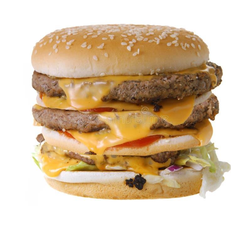 Cheeseburger triplo fotografia de stock