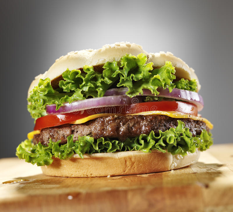 Free Cheeseburger With Lettuce Tomato And Onion. Stock Photography - 33367162