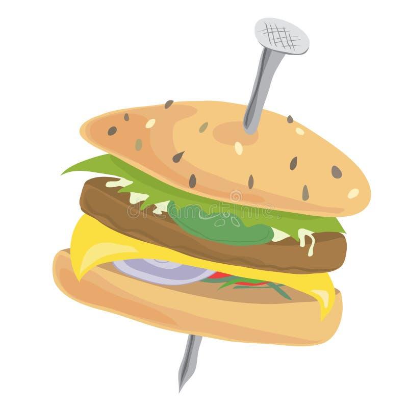Cheeseburger z wysoką żelazną zawartością royalty ilustracja