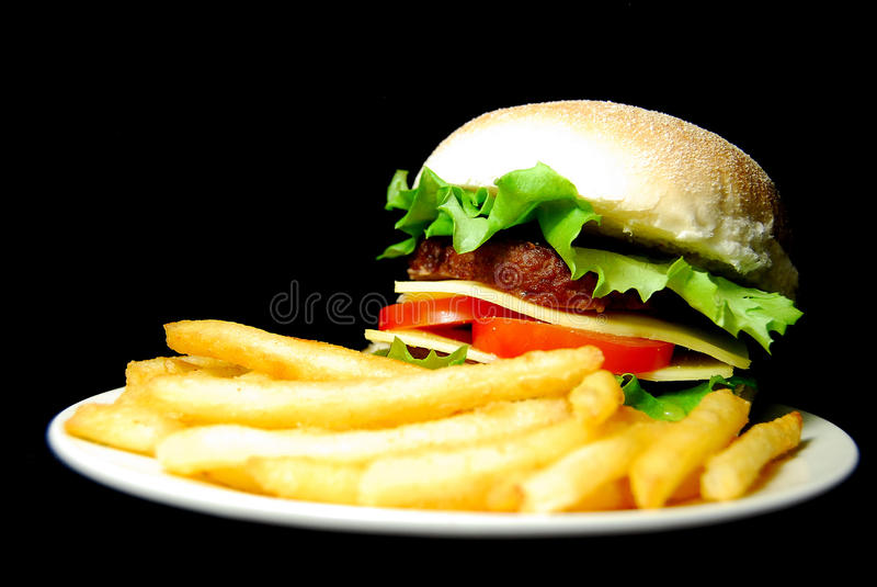 cheeseburgerhamburgare royaltyfri bild