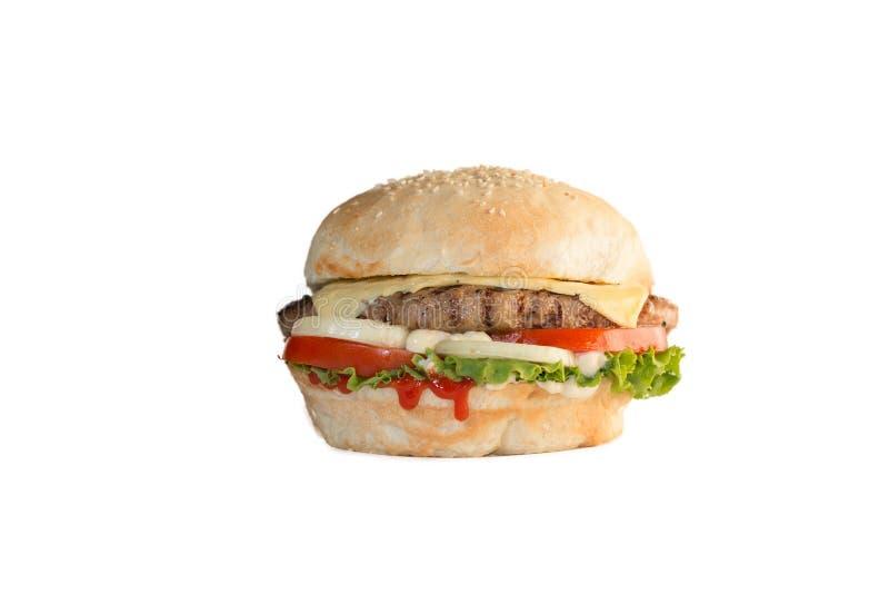 Cheeseburgersandwich auf weißem Hintergrund lizenzfreie stockbilder