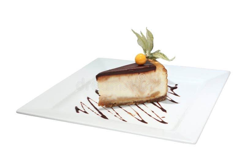 cheesecake διακοσμημένα σοκολάτ&al στοκ εικόνα