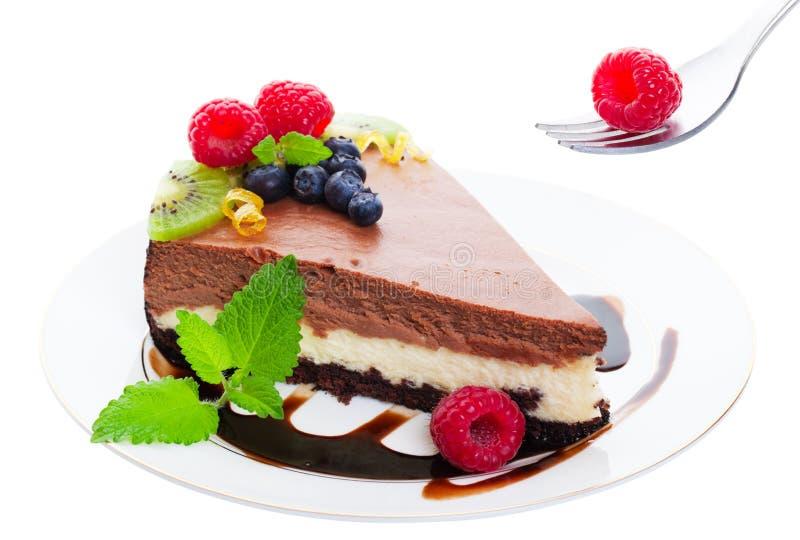 cheesecake τριπλάσιο στρώματος σ&omicron στοκ φωτογραφία με δικαίωμα ελεύθερης χρήσης