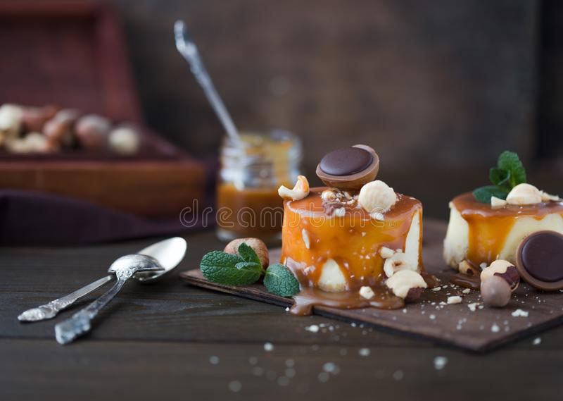 Cheesecake Χριστουγέννων παραδοσιακή συνταγή χειμερινών κέικ Cheesecake φέτα στοκ εικόνες