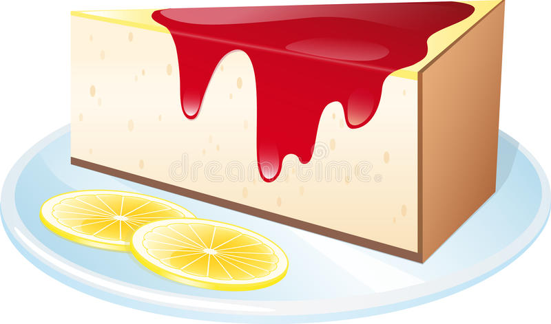 Cheesecake. A piece of lemon cheesecake in a plate stock illustration