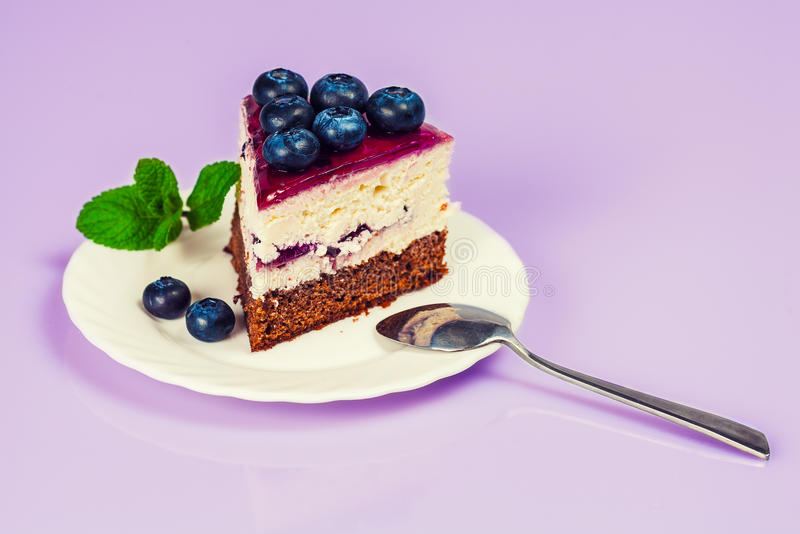 Cheesecake with blueberries royalty free stock photos