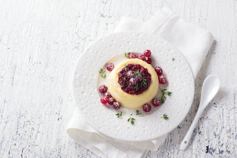 Cheesecake, chałupa sera pudding z dżemem i świezi cranberries, zdjęcia stock