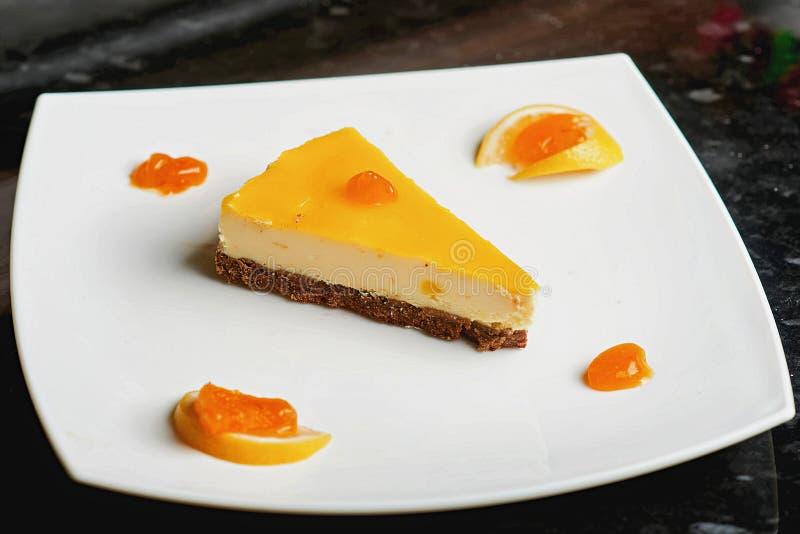 Cheesecake in powdered sugar stock photos