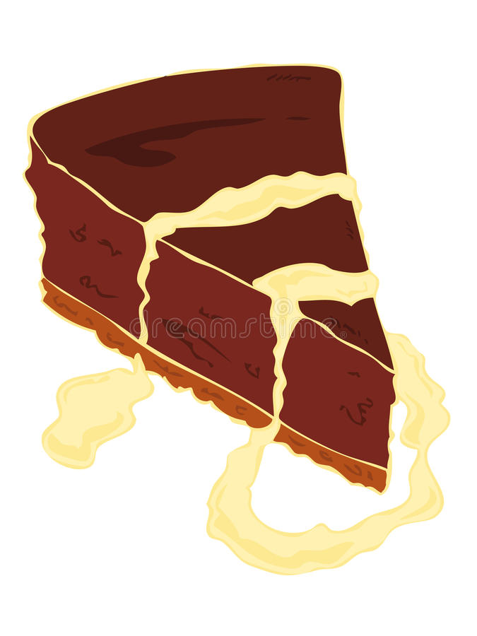Cheesecake chocolate cake slice. vector illustration