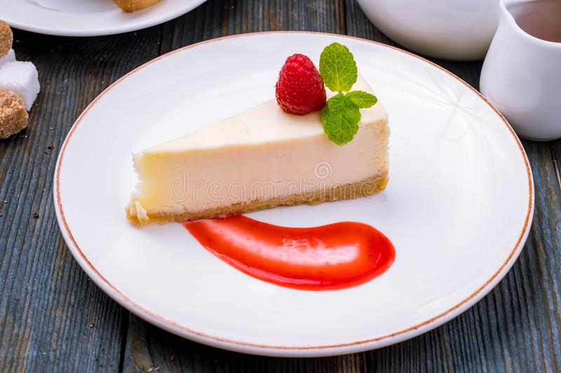 Cheesecake classic with sauce stock image