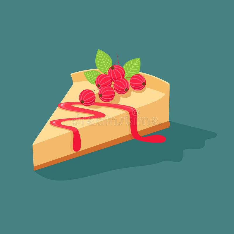 Cheesecake with currants. Vector illustration of slices of delicious cakes stock illustration