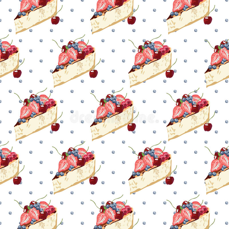 Cheesecake dessert pattern. On dotted background Vector stock illustration