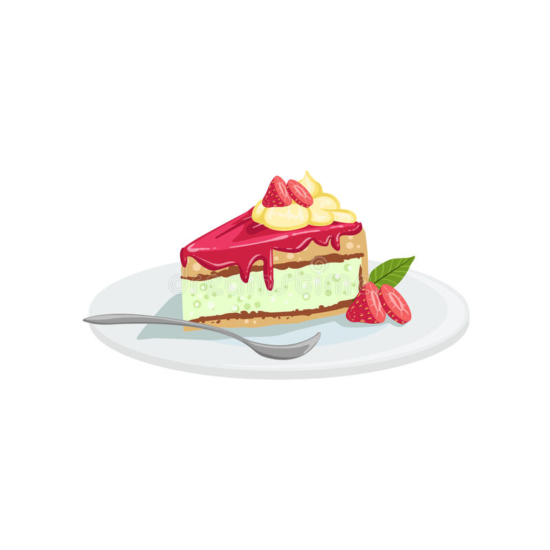 Cheesecake European Cuisine Food Menu Item Detailed Illustration. Cafe Dish In Realistic Design Vector Drawing stock illustration