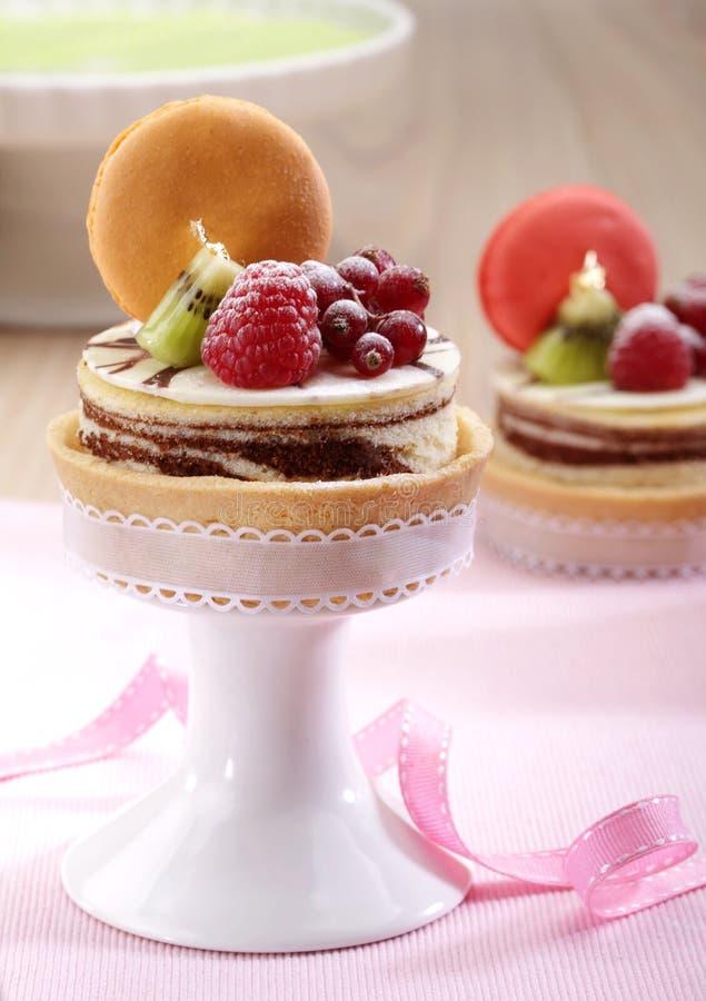 Cheesecake with fruit stock photos