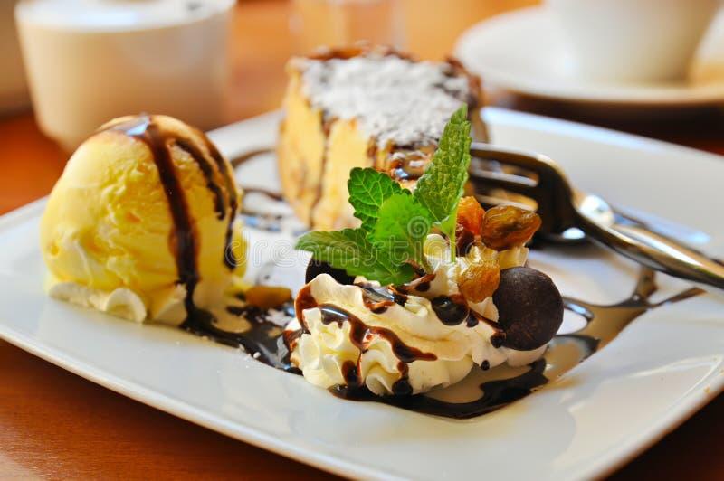 Cheesecake with icecream royalty free stock photos
