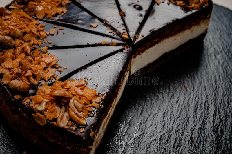 Cheesecake on a marble plate royalty free stock images