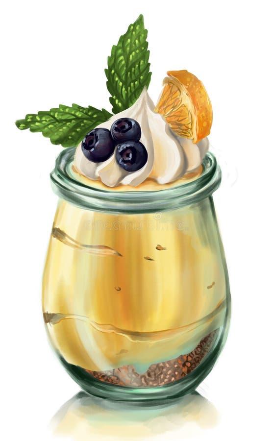 Cheesecake mousse z świeżymi czarnymi jagodami, batożącą śmietanką, pomarańcze i mennicą, zdjęcie stock
