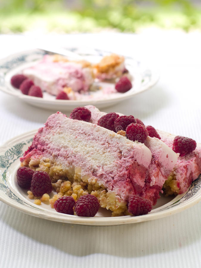 Cheesecake with raspberry royalty free stock photos