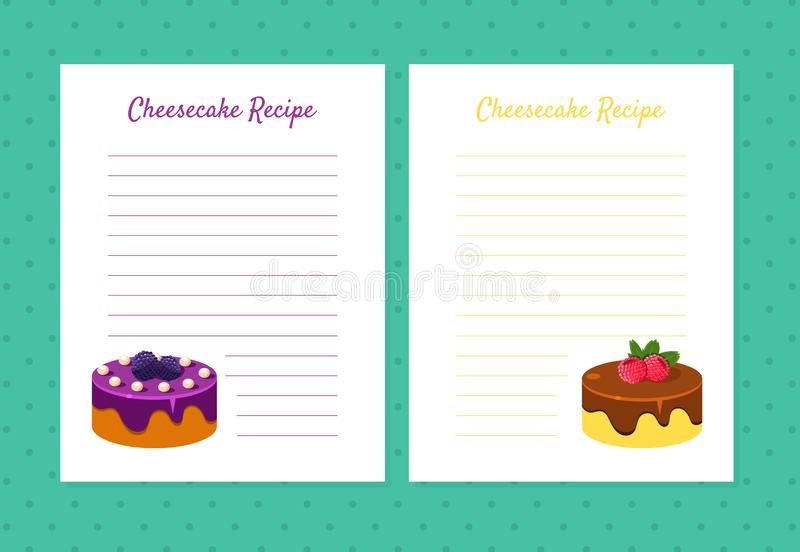 Cheesecake Recipe Cookbook Design Templates, Card with Lines for Recipe Placement Vector Illustration. On Green Background vector illustration