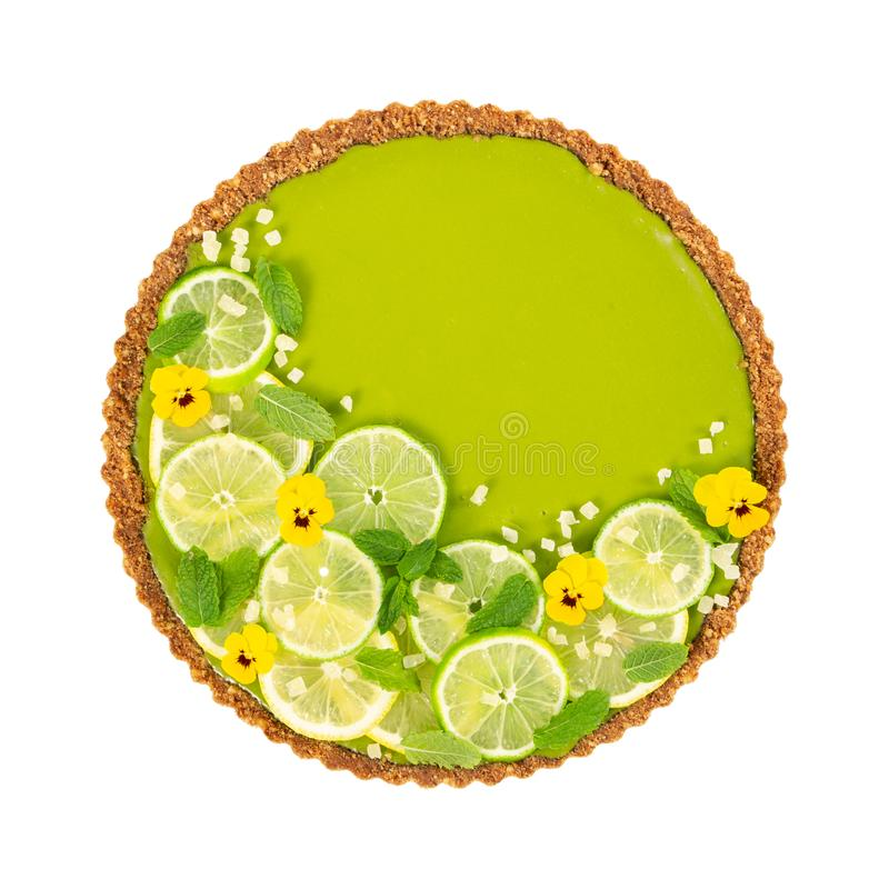 Cheesecake with slices of lime and lemon and fresh mint royalty free stock photo