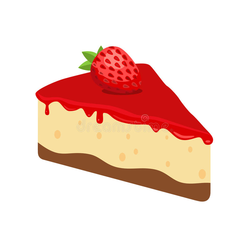 Cheesecake with Strawberry. Vector Illustration on white background stock illustration