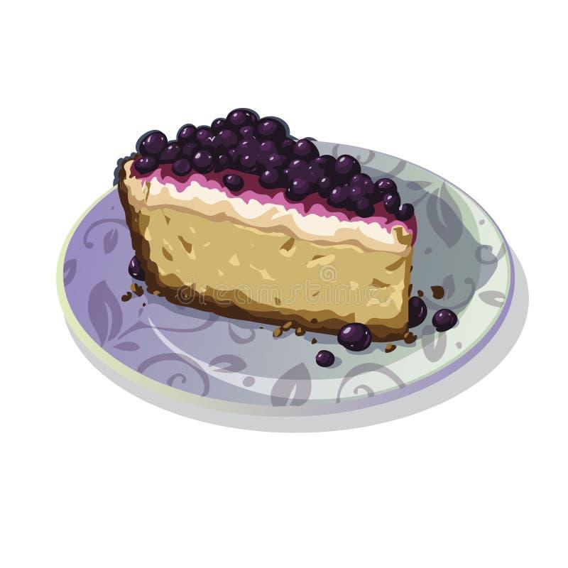 Cheesecake z Czarnymi jagodami royalty ilustracja