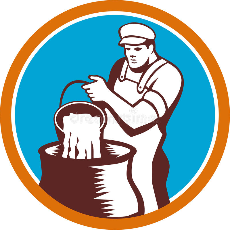 Cheesemaker Pouring Bucket Curd Circle Woodcut vektor illustrationer