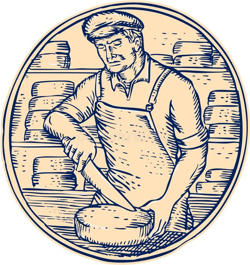 CheesemakerCutting Cheddar Cheese etsning stock illustrationer