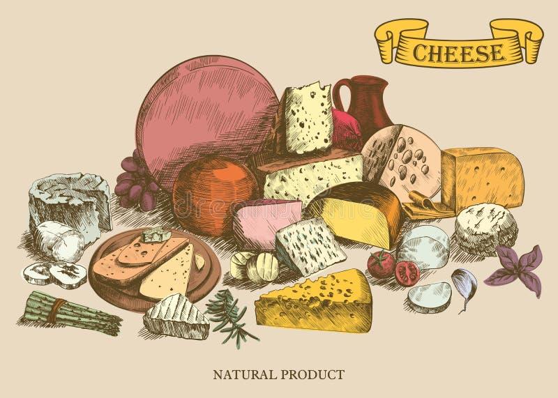 Cheesemaking stock illustrationer