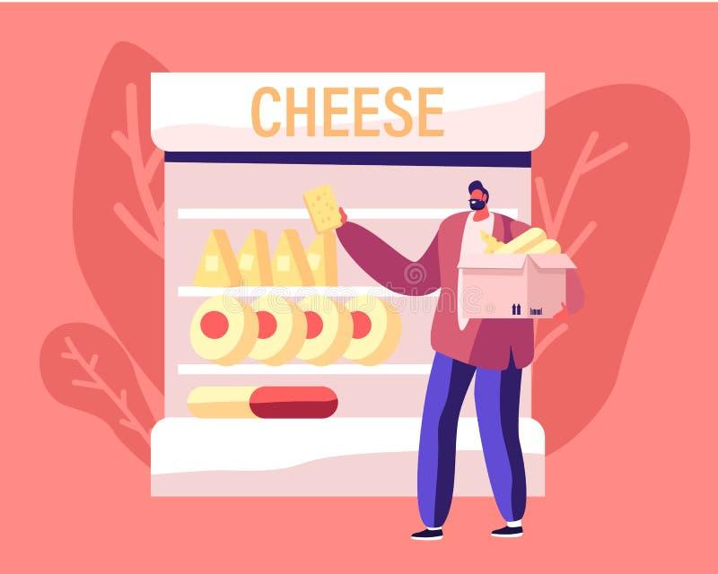 Cheesemaking Industry and Retail Business Klient indywidualny Wybierz i weź produkcję mleczarską z supermarketu ilustracja wektor