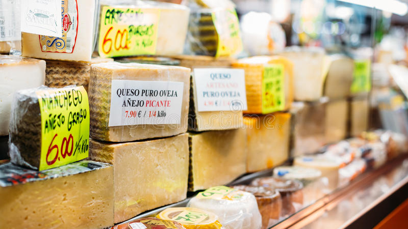 Cheeses on local grocery market royalty free stock photos