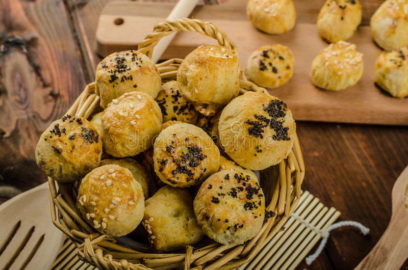 Cheesy Bites with garlic and blue cheese stock photos