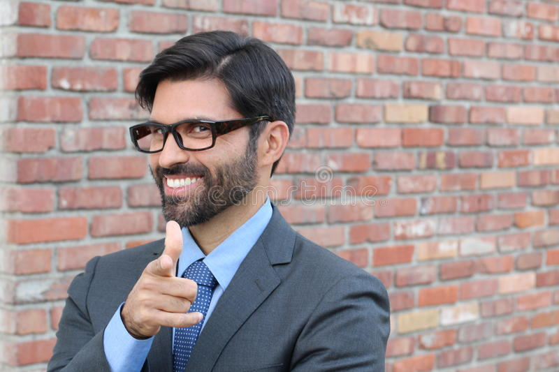 Cheesy Businessman Pointing at YOU stock photos