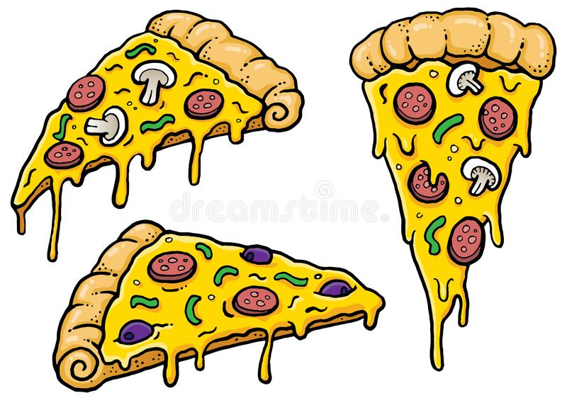 Cheesy cartoon Pizza slices vector illustration