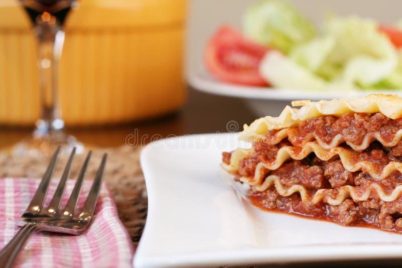 Cheesy lasagna stock photo